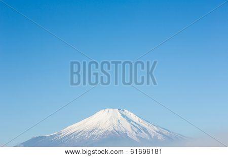 Top of Mount Fuji fujisan from yamanaka lake at Yamanashi Japan