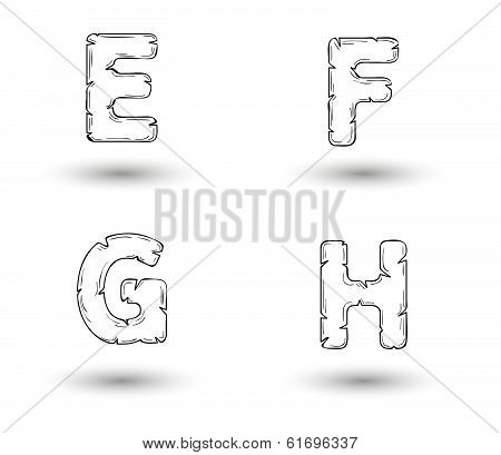 Sketch Jagged Alphabet Letters, E, F, G, H
