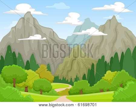 Illustration of a Peaceful Scenery Featuring Rocky Mountains Visible from Afar
