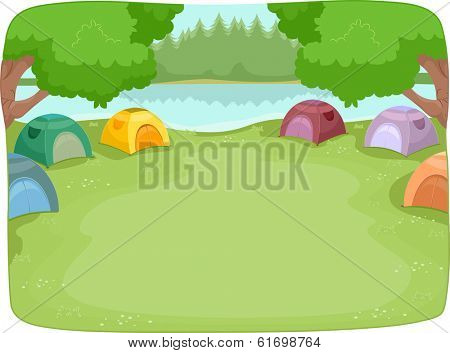 Illustration of a Lakeside Camp Site Filled with Colorful Camping Tents