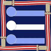 picture of suspenders  - text box on a dark blue background and suspenders for trousers - JPG