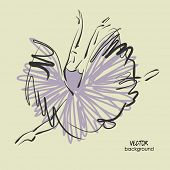 image of tutu  - art sketched beautiful young ballerina with long tutu dancing - JPG