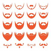 picture of long beard  - Different styles on red hair beard icons set isolated on white - JPG