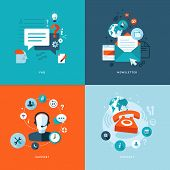 Set of flat design concept icons for web and mobile phone services and apps poster