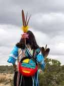 stock photo of female buffalo  - Female Native American Buffalo dancer in the Southwest - JPG