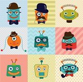 image of robotics  - Colorful Vintage Hipster Cute Fashion Robots Background - JPG