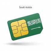 stock photo of saudi arabia  - Saudi Arabia mobile phone sim card with flag - JPG