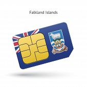 picture of falklands  - Falkland Islands mobile phone sim card with flag - JPG