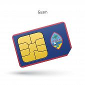 foto of guam  - Guam mobile phone sim card with flag - JPG