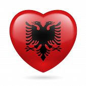 stock photo of albania  - Heart with Albanian flag colors - JPG