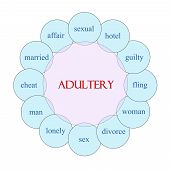 stock photo of adultery  - Adultery concept circular diagram in pink and blue with great terms such as sexual hotel guilty and more - JPG