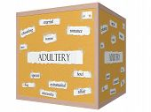 foto of adultery  - Adultery 3D cube Corkboard Word Concept with great terms such as married cheating sex and more - JPG