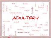 picture of adultery  - Adultery Word Cloud Concept on a Whiteboard with great terms such as sexual affair lies and more - JPG
