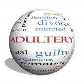 foto of adultery  - Adultery 3D sphere Word Cloud Concept with great terms such as sexual affair lies and more - JPG