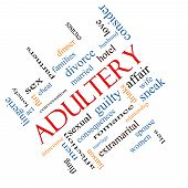 stock photo of adultery  - Adultery Word Cloud Concept angled with great terms such as sexual affair lies and more - JPG