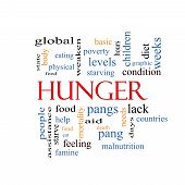 foto of starving  - Hunger Word Cloud Concept with great terms such as food pangs starving and more - JPG