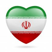 image of iranian  - Heart with Iranian flag colors - JPG
