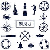 picture of ship steering wheel  - Set of flat marine elements - JPG