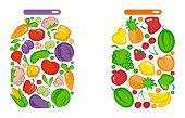 pic of pickled vegetables  - Preserved vegetables and fruit in a glass jar - JPG