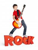 stock photo of attitude boy  - Boy plays  on electric guitar - JPG