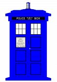 stock photo of bobbies  - A typical british police box isolated over a white background - JPG