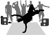 picture of break-dance  - collection breakdance silhouette break dance people young - JPG
