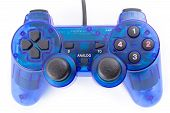 image of controller  - the isolated of the blue joystick for controller and play video game on white background - JPG