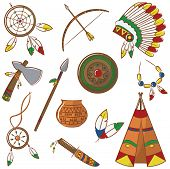 stock photo of wigwams  - Doodle set with native american elements isolated - JPG