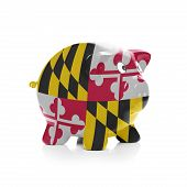 stock photo of maryland  - Piggy bank with flag coating over it isolated on white  - JPG