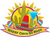stock photo of mexican fiesta  - Happy Cinco De Mayo banner with sombrero - JPG
