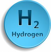 image of hydrogen  - Blue hydrogen circle button - JPG