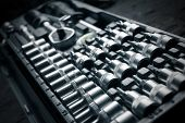 foto of vanadium  - a chrome vanadium wrench set tool detail - JPG