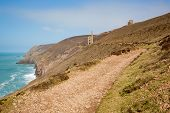 Cornwall coast tin mine England UK near St Agnes Beacon on the South West Path known as Wheal Coates poster