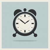 image of analog clock  - Alarm Clock on Retro Blue Background Vector - JPG