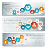 stock photo of medical  - Three medical banners with icons - JPG