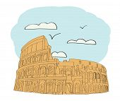Great Colosseum, Rome, Italy. illustration for magazine or newspaper