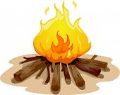 pic of firewood  - Illustration Featuring a Camp Fire Burning Brightly - JPG