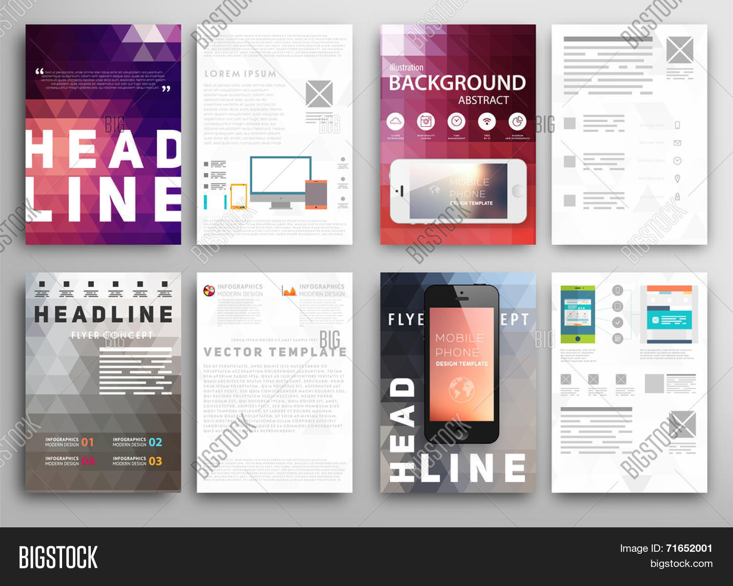 Abstract Triangle Geometric Vector Brochure Template. Flyer Layout ...