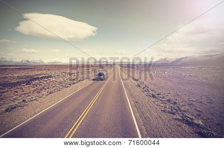 Vintage Picture Of Car On Endless Country Highway, Ruta 40 In Argentina.