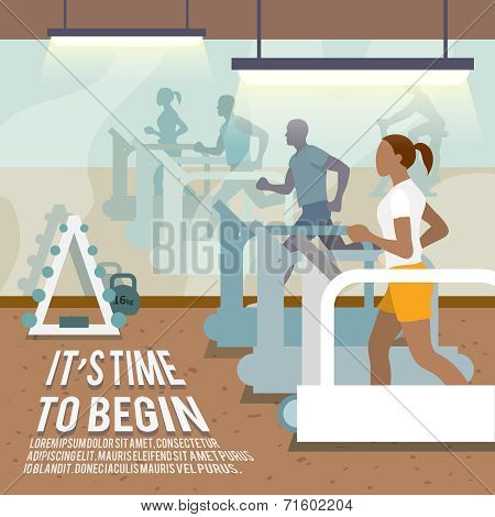 People on treadmills fitness poster