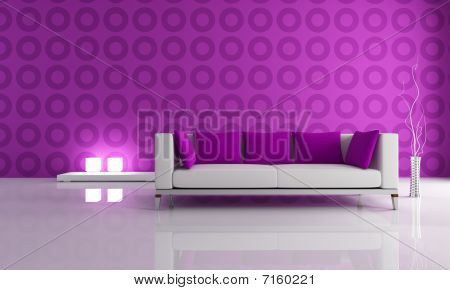 White And Puple Modern Lounge