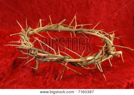 Crown Of Thorns On Red Background.