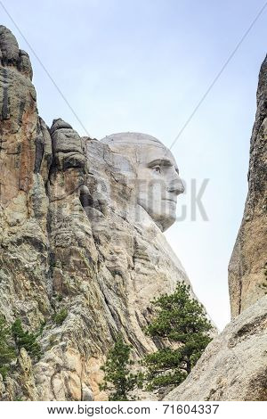Profile of George Washington on Mount Rushmore.