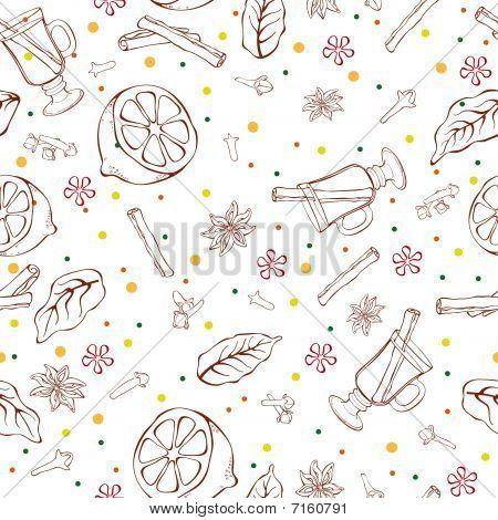 Mulled wine seamless pattern