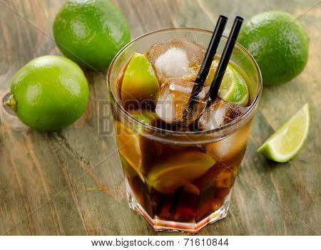 Cuba Libre Cocktail With Limes