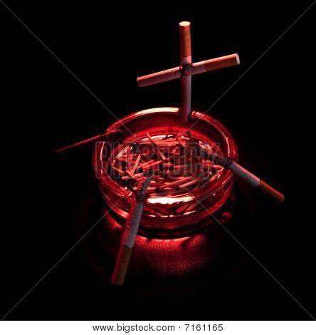 Cigarette Cross In Ashtray