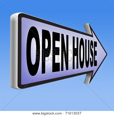 Open house placard or icon for buying or renting a real estate property