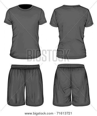 Men's black short sleeve t-shirt and sport shorts design templates (front and back views). Vector illustration.