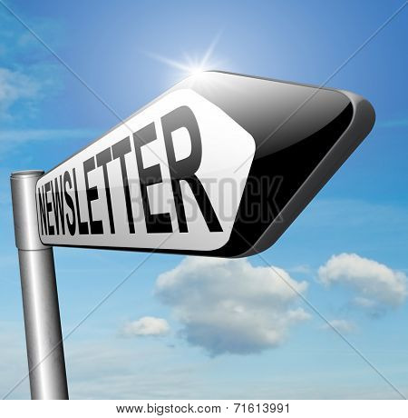 Newsletter sign with hot news items and latest articles road sign arrow