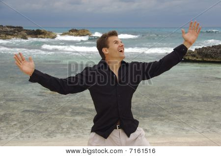 Man Happy At Beach